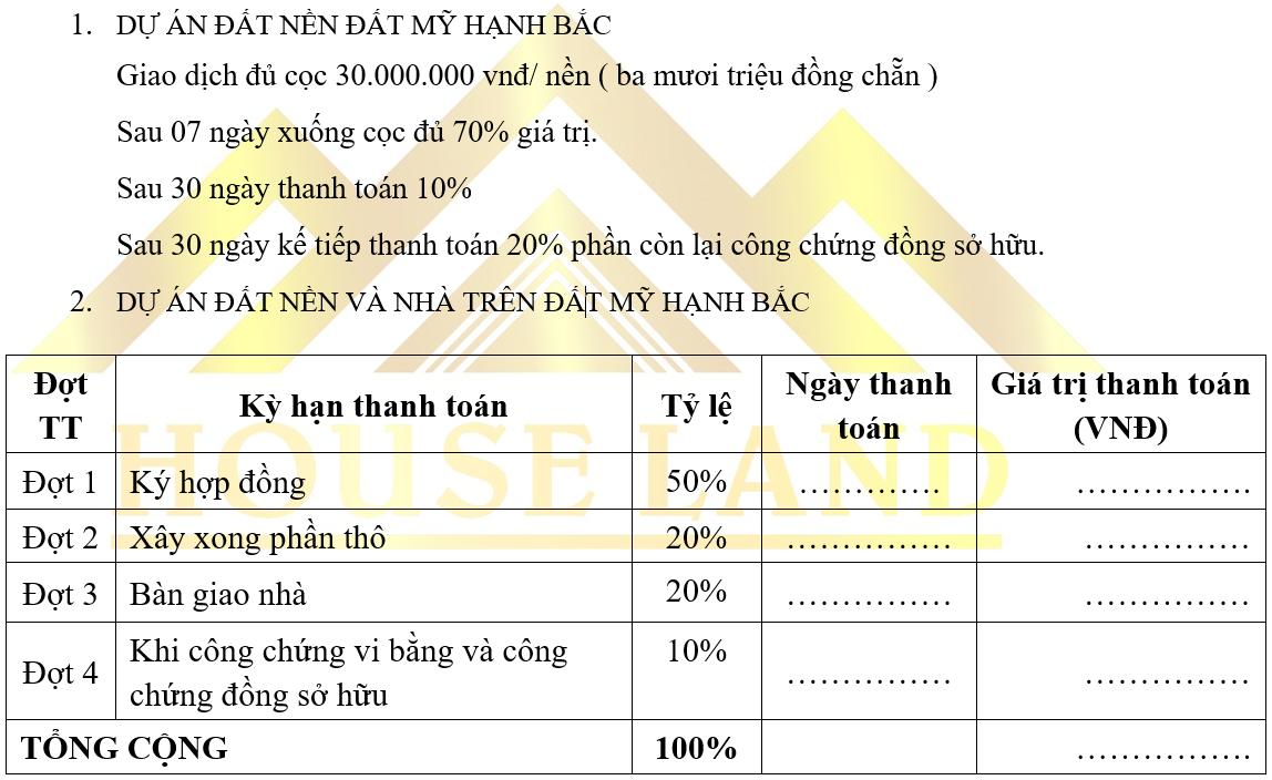 Lịch thanh toán giai đoạn 1 dự án đất nền King Golden Long An