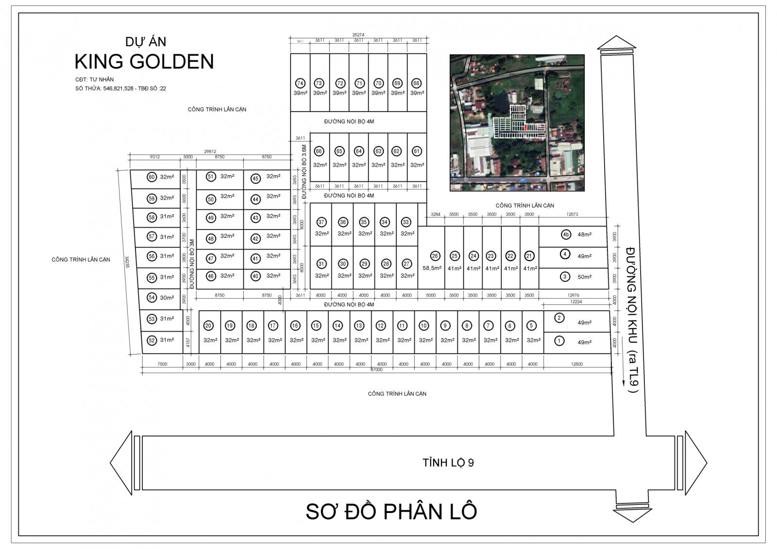 sơ đồ phân lô dự án king golden long an