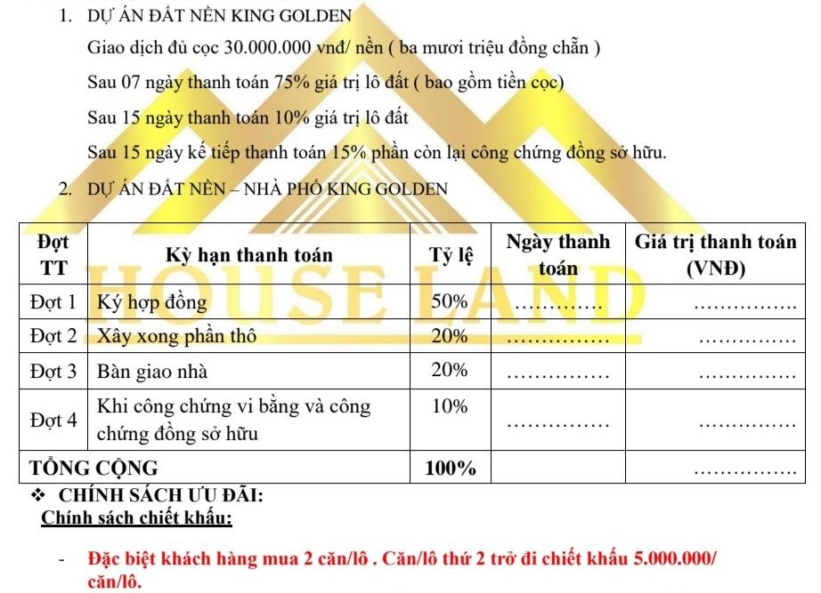 phương thức thanh toán và chính sách khách hàng đất nền nhà phố king golden