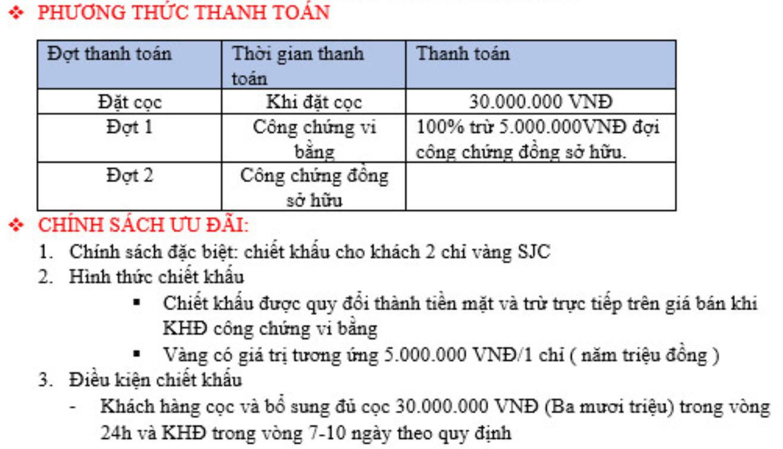 phương thức thanh toán và chính sách khách hàng dự án Minh Đức