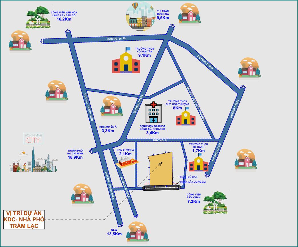 sơ đồ liên kết vùng dự án đất nền khu dân cư nhà phố cầu không tràm lạc